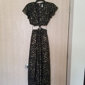 Free People Dresses - Free People black and gold star midi with cutouts